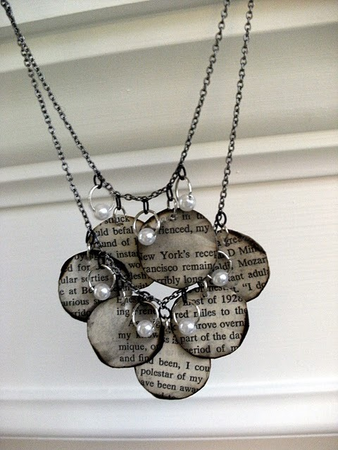 DIY Book Page Necklace at Mandypidy.com SUPER EASY tutorial here. Can imagine using all sorts of images (vintage roses? Mod 60s scrabooking paper? Old fashioned script?) for this. I have so many ideas floating around my head about this one!