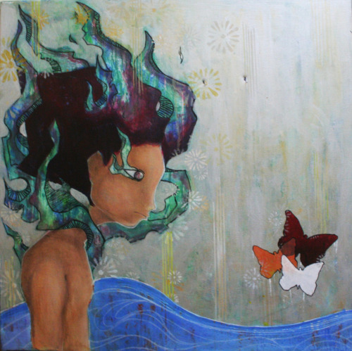 """putangina, butterflies!"" 2x2ft. mixed media on canvas."