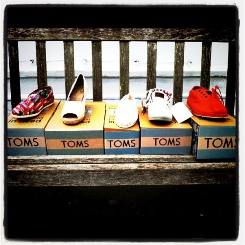 Momma, daddy, and I supporting the TOMS cause. Just doing our part.