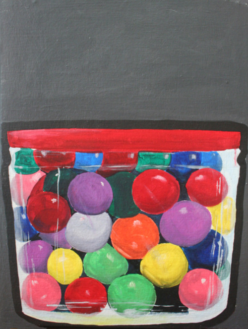 """gumball basketball"" 18x24in. Acrylic on canvas."