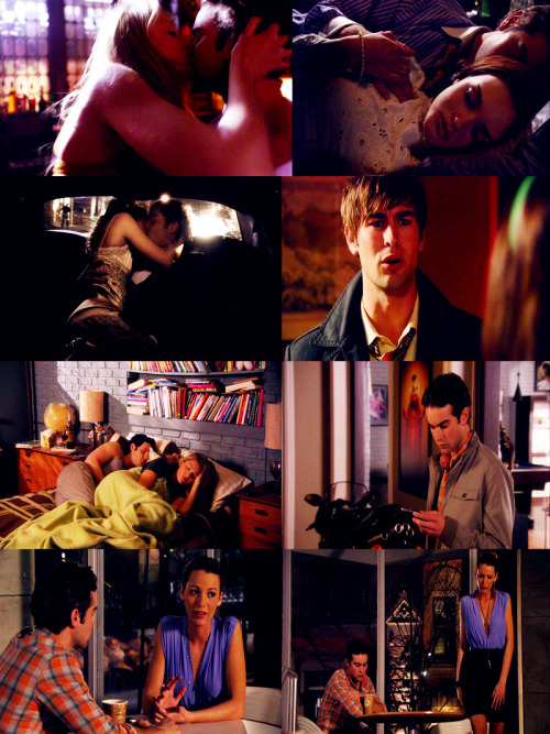 bcwaldorf:  Cycle of Cheating Part I: 1.01- Nate had cheated on Blair with Serena/ Reaction: 1.02 Blair sticks with him for good ( after he finally tells her if she'll get over it or not.) 1.07 Blair cheats on Nate with Chuck/ Reaction: 1.13 Nate walks away from the relationship. 3.22 Serena cheats on Nate with Dan/ Reaction: 3.22 Nate forgives Serena but Serena walks away. more to come.