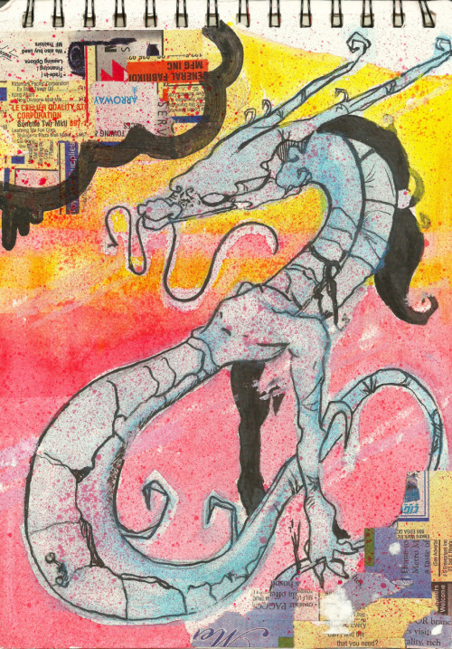 """smoke the blunt, dragon breath"" 190x270mm sketchbook. mixed media."
