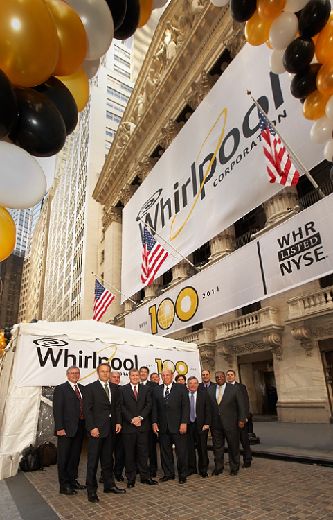 The CEO and top executives at Whirlpool celebrating one hundred years on the New York Stock Exchange  ©2011 www.bernarddoylephoto.com