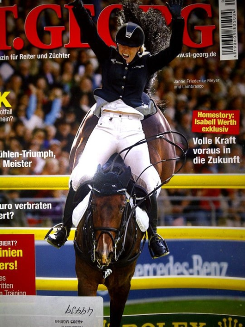 ssequestrian:  loveequestrian:  Janne Frederike Meyer victory in Aachen. She's cheering as she covers her last jump. She was the only one to double clear therefore won without having to compete in the jump off. Truly amazing.  WOW