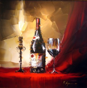Still Life—Wine Bottle   You can't resist the temptation of wine. Would you like to taste it? By artist: K.L  I sell fine art/ oil painting/ canvas art/ modern decor.(If you are art wholesaler, inquiry wholesale price at xiamen1986@gmail.com)