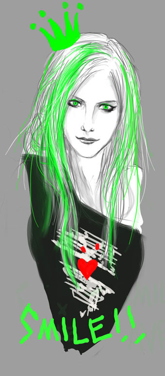 Emo-ing…….. Quick sketch of Avril Lavigne SMILE! SMILE! SMILE!