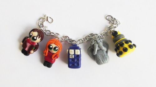 Another Custom Bracelet. Doctor Who Themed. 11th Doctor, Amy, Tardis, Weeping Angel, Yellow Dalek. Contact me at my Etsy to commission custom work like this.