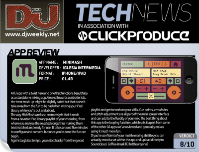 "Review in British DJ Weekly!  ""The best thing about this app is the looping function, which sets it apart from some of the other DJ apps we've reviewed and generally makes using it much more fun…Coffee-break DJ battle anyone?"""