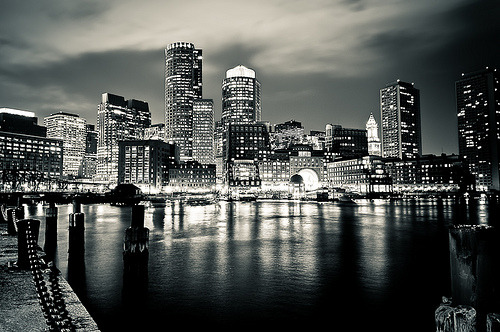 Boston Financial District Skyline at Night (by briburt)