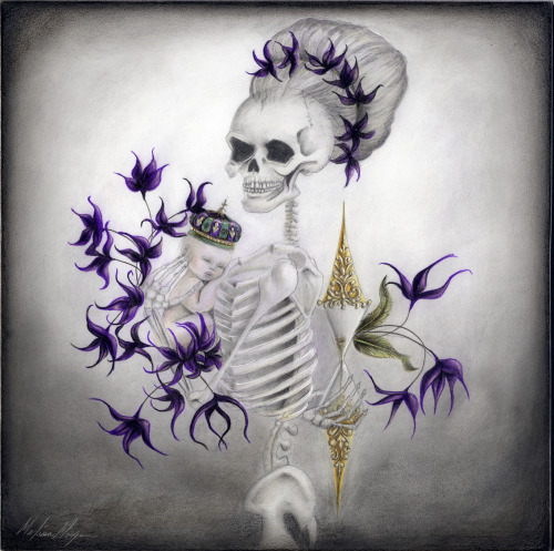 "Memento Mori 8"" x 8"" Graphite and Color Pencil on Masonite board"