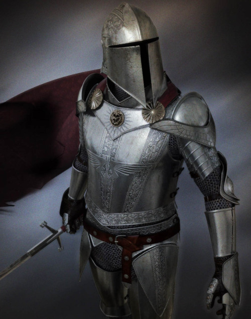 liveforone:  characterink:  The Knight is almost entirely modeled in Max, and rendered with Mental Ray. With some post work done in Photoshop, like the cape effect and background. More.   Fuck yeah, medieval Knight.