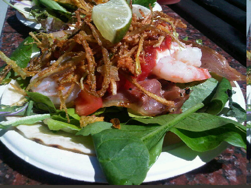 Prawn & grilled prosciutto taco w/ star anise/tomato chutney, organic greens, sour cream, salsa from Feastro (@coastfeastro) #HungerPangs