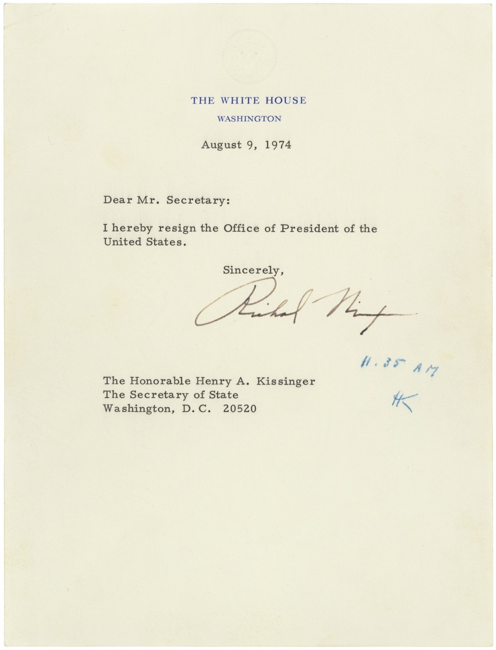 Richard M. Nixon's Resignation Letter, 08/09/1974 Following the revelations stemming from the investigation of the Watergate break-in, President Richard M. Nixon resigned the Presidency in this letter dated August 9, 1974. The President's resignation letter is addressed to the Secretary of State, in keeping with a law passed by Congress in 1792. The letter became effective when Secretary of State Henry Kissinger initialed it at 11:35 a.m.