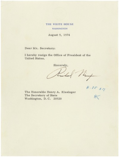 todaysdocument:  Richard M. Nixon's Resignation Letter, 08/09/1974 Following the revelations stemming from the investigation of the Watergate break-in, President Richard M. Nixon resigned the Presidency in this letter dated August 9, 1974. The President's resignation letter is addressed to the Secretary of State, in keeping with a law passed by Congress in 1792. The letter became effective when Secretary of State Henry Kissinger initialed it at 11:35 a.m.