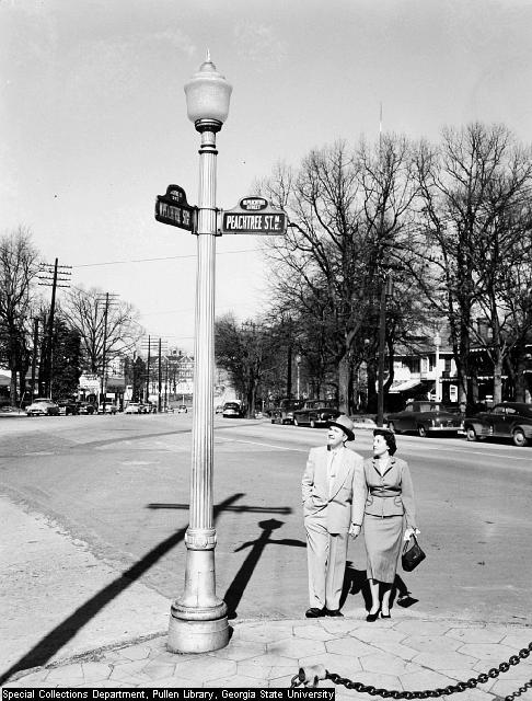 1953 photo shot of the spot where the Peachtrees come together, or separate, at Pershing Point.  Midtown Atlanta