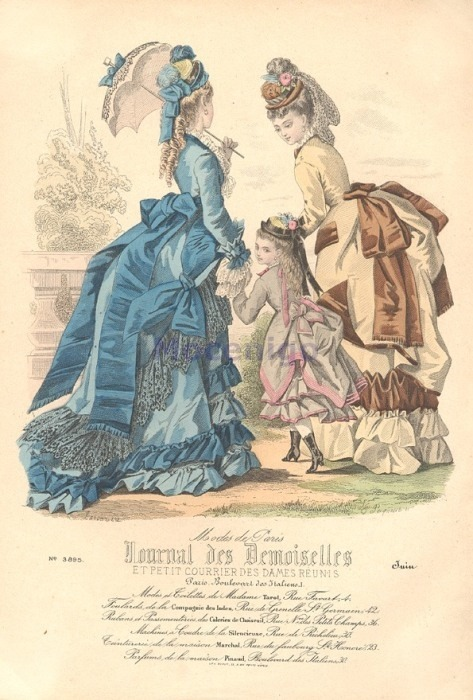Walking or promenade dress, 1873 France, Journal des Demoiselles