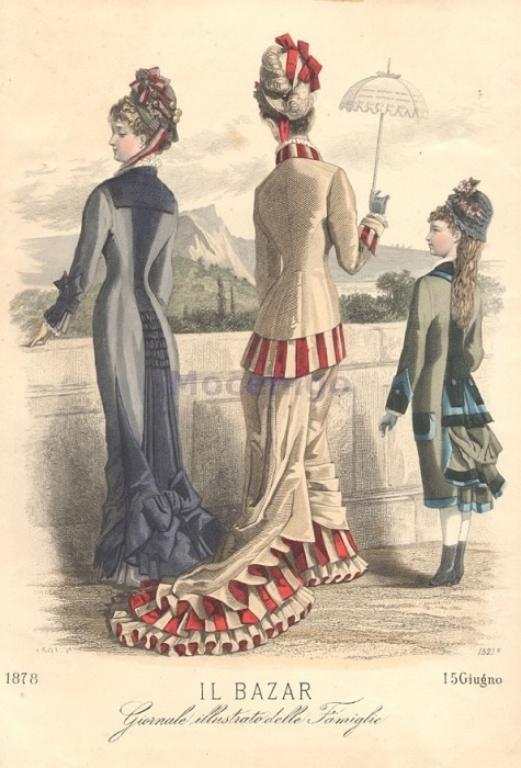 Walking or promenade dress, 1878 Italy, Il Bazar