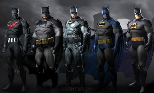 nerdcandy:  'BATMAN: ARKHAM CITY' Bonus Costumes Revealed Check out the awesome bonus costumes that will be available in the highly anticipated video game Batman: Arkham City. For those of you looking to get access to these costumes here's the information on each one: Batman Beyond Skin:Pre-order Batman: Arkham City from GameStop.co.uk or MightyApeLinks: GameStop.co.uk  http://www.mightyape.co.nz/ The Dark Knight Returns Skin:Purchase the Batman: Arkham City Collector's Edition from any store Earth One Skin:Purchase the Batman: Arkham City from MightyApe. http://www.mightyape.co.nz/ 1970's Batman Skin:Pre-order Batman: Arkham City from ShopTo.net (UK) or Toys R Us (USA)Links: ShopTo.net - Toys R Us The Animated Series:Purchase the Batman: Arkham City from MightyApe: http://www.mightyape.co.nz/ I love all of the costumes but Im gonna have to go with the animated one for nostolgic reasons. Which one is your favorite?