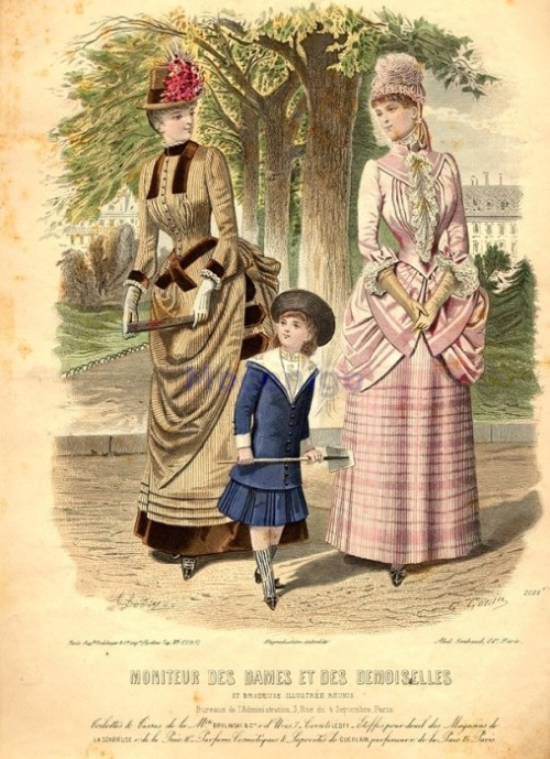 Walking or promenade dress, 1879 (probably mis-labeled) France, Moniteur des Dames et des Demoiselles