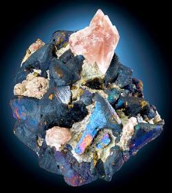 mineralia:  Bornite coated Chalcopyrite with Calcite from Mexico