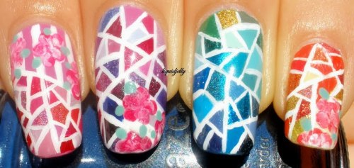 high-on-polish:  Contemporary Stained Glass Nails