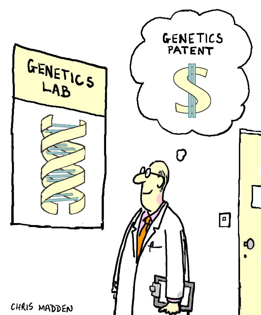 "A federal appeals court upheld Myriad Genetics' right to patent human genes this week. The ACLU had sued to block this, and although they won a previous case, it looks like the ability to patent (and preserve intellectual property rights money) on a piece of nature might go to the Supreme Court. I think the cartoon above and the following quote sum up my views on the subject quite nicely:  ""Human DNA is not a manufactured invention, but a natural entity like air or water. To claim ownership of genetic information is to unnecessarily block the free exchange of ideas.""  (via The Scientist)"