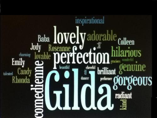 This is a 'wordle' (basically a word cloud) describing Gilda (even though there isn't a word in existance that cam describe her perfectly).  I threw in some of her SNL characters, too. (Submitted by:nobusinesslikefunnybusiness. I love it!) Enter the contest HERE  .