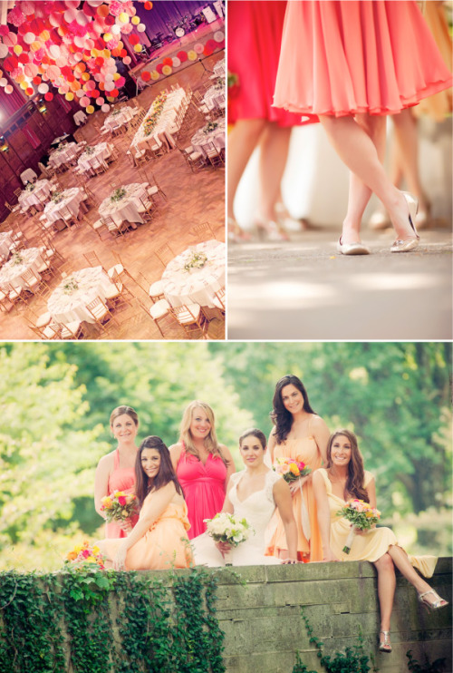 savetheideas:  {i love that the colors for the wedding are pink and orange & the bridesmaids dresses are different shades of orange and pink. its unique and shows off the wedding colors without being over powering. plus, each bridesmaid feels like they have a little bit of say in there dress} for http://ashleyharlow.tumblr.com/ :))