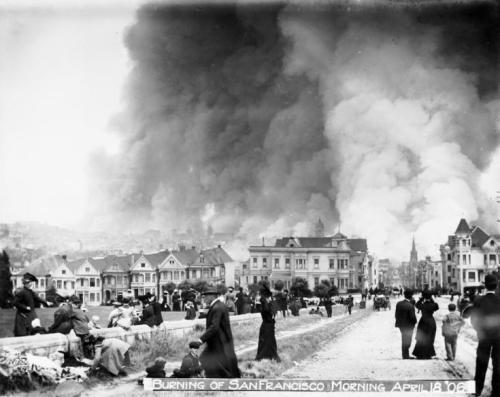 floooozie:  Alamo Square fire San Francisco  I love looking at earthquake pictures
