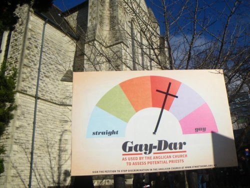 St. Matthews encourages church-goers to sign their petition to end discrimination against gays and lesbians wishing to become ordained.