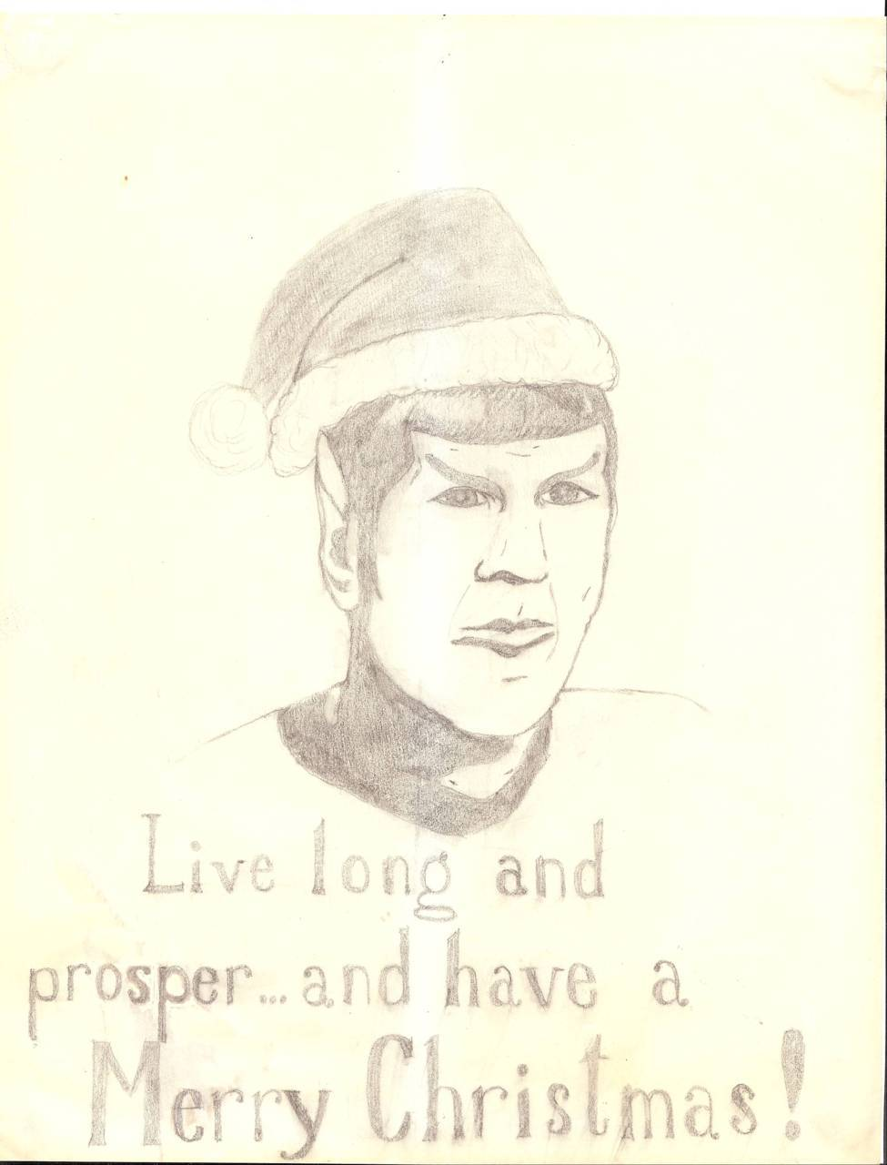 Star Trek fanart - Spock in a Santa hat. Pencil on typing paper.  I drew this in December 1981, to put on my dorm room door. I tried to make the scan darker, but this is the best I could manage. Drawn while looking at a drawing of Spock in a fan magazine.