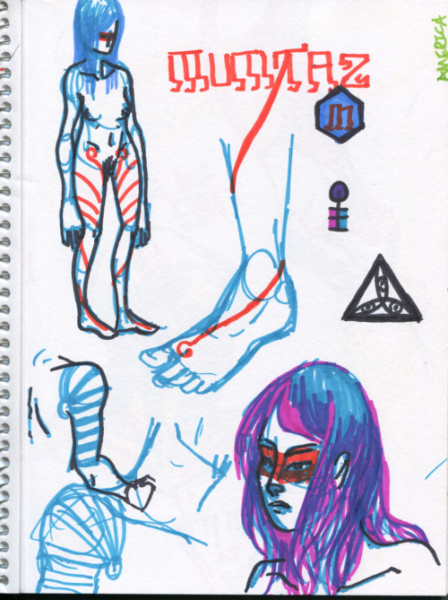 Here's a sketch dump of some drawings I did with Devin's markers today (also in his sketchbook, which he left at my house.)  ALSO: The proportion of that blue/orange chick's limbs are intentionally distorted, I am not crazy.