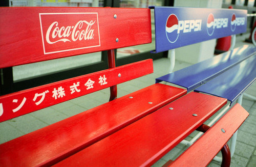 japanlove:  Forever Rivals by hey mr. eric on Flickr.COKE>pepsi