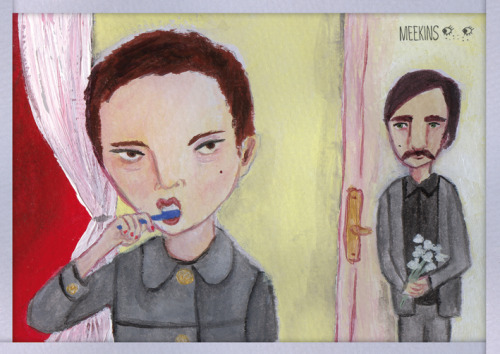 From Wes Anderson's Hotel Chevalier. Painting by me, acrylic on paper.