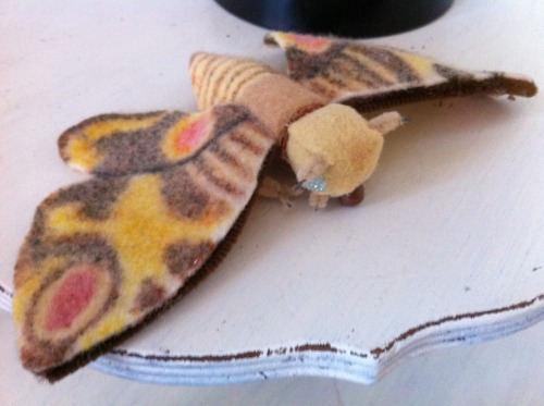 I was digging through a box of old stuff when I found this Mothra doll I made when I was a kid using a bottle cork, felt, pipe cleaner and beads.