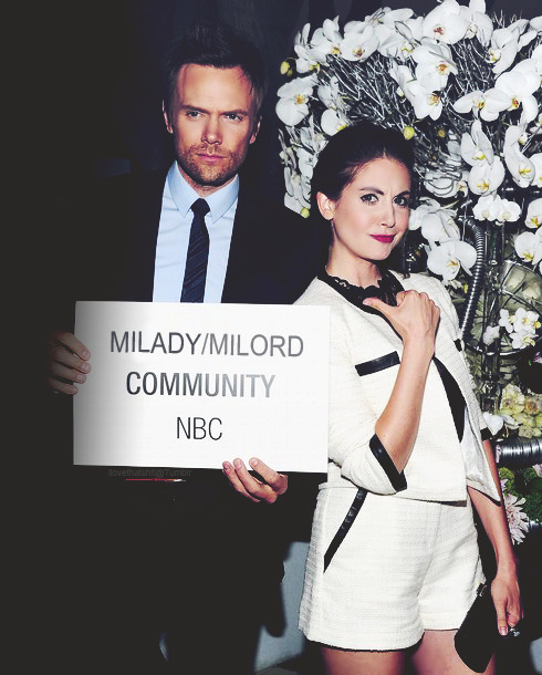 "monicagellerb:  black91: Alison Brie and Joel McHale at NBC Press Tour Aaaaaawwwwww!  Someone called?  (Why is funny? Tuxedo Kamen is called ""Milord"" in the Italian Version of Sailor Moon)"