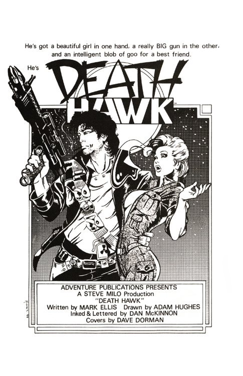 Rare art of the day: Death Hawk promotional ad by Adam Hughes, 1988.