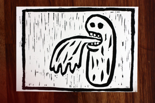 This is the second of three lino prints and its about sick.