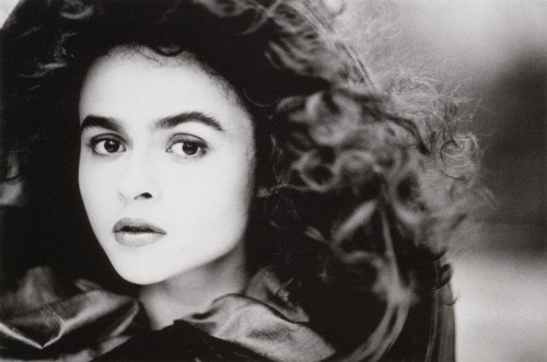 "suicideblonde:  Helena Bonham Carter photographed by John Swannell in 1987 ""I booked a castle in Wales and shot her running across the battlements. This was just a picture I grabbed in between. It captures everything I love about Helena - her intellect is showing through."""