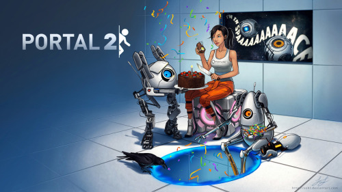 ok-sunshine:  Finally finished drawing this! Free Portal 2 Wallpaper Download below! :) If you'd like to spread the word, reblog or share this link: http://bit.ly/portal2wallpaper  Most Frequently Asked Question: Where is the orange portal? ;) 16:10 Wallpaper Sizes:1920 x 1200 - http://bitly.com/olpnER1680 x 1050 - http://bitly.com/pLb1xb1440 x 900 - http://bitly.com/nXx81h1280 X 800 - http://bitly.com/qFYpB0 16:9 Wallpaper Sizes:1920 x 1080 - http://bitly.com/ppXMTo1600 x 900 - http://bitly.com/qVkRmg1366 x 768 - http://bitly.com/n58ob1