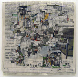 defacedbook:  Tobias Putrih Times (April 22), 2011 Newspaper, glue, cotton string (31 x 31 cm)