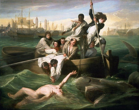 via laphamsquarterly:   and 3rdofmay:   The art: John Singleton Copley, Watson and the Shark, 1778.  The news: It's Shark Week!  The source: Collection of the National Gallery of Art.   History bonus: Via the National Gallery's website, the story behind the painting: Watson and the Shark's exhibition at the Royal Academy in 1778 generated a sensation, partly because such a grisly subject was an absolute novelty. In 1749, fourteen-year-old Brook Watson had been attacked by a shark while swimming in Havana Harbor. Copley's pictorial account of the traumatic ordeal shows nine seamen rushing to help the boy, while the bloody water proves he has just lost his right foot. To lend equal believability to the setting Copley, who had never visited the Caribbean, consulted maps and prints of Cuba.  The rescuers' anxious expressions and actions reveal both concern for their thrashing companion and a growing awareness of their own peril. Time stands still as the viewer is forced to ponder Watson's fate. Miraculously, he was saved from almost certain death and went on to become a successful British merchant and politician.  Although Copley underscored the scene's tension and immediacy, the seemingly spontaneous poses actually were based on art historical precedents. The harpooner's pose, for example, recalls Raphael's altarpiece of the Archangel Michael using a spear to drive Satan out of heaven. The oil painting's enormous acclaim ensured Copley's appointment to the prestigious Royal Academy, and he earned a fortune selling engravings of its design.