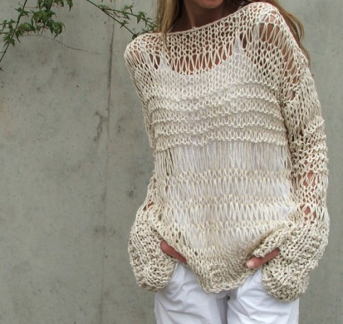 cream cotton and linen summer grunge sweater iLE AiYE by ileaiye
