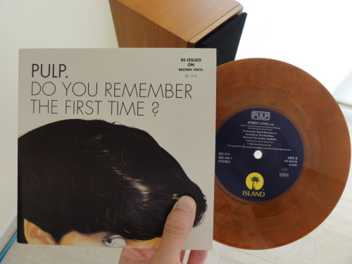 "Another in a series of re-issued coloured 45ers, Pulp's 'Do you remember the first time?', UK 7"" brown #vinyl, 1994. Very limited and scarce. Mint condition. Stunning sound."