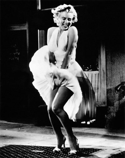 One of the most iconic pictures of Marilyn Monroe in The Seven Year Itch wearing her famous white dress while standing over a subway grate. This was as raunchy as it got in the 50's! This was risque stuff.