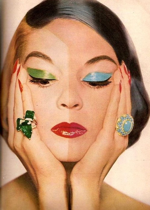 theniftyfifties:  Jean Patchett wearing an emerald ring from Harry Winston and turquoise ring from Van Cleef & Arpels for Harper's Bazaar, October, 1955. Photo by Frances Pellegrini.
