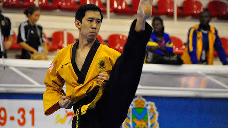 luoyun:  2011 World Poomsae Championships | Vladivostok, Russia | Photo taken from the USA Taekwondo website. That's my sabumnim, Master Dan Chuang. Woo hoo. Represent, MIT sport taekwondo!  hmm…why is it black&yellow black&yellow? Sigh…Sabumnim…
