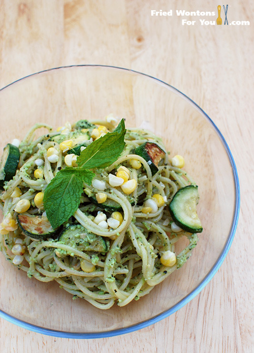 Spaghetti with Edamame Avocado Mint Pesto | Fried Wontons For You (via phoods)