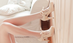 catalogbeauty:  Pale.   i love that lace-up heels are so in for fall! but especially these because the ribbon lace and blush nude color give it a ballerina feel!