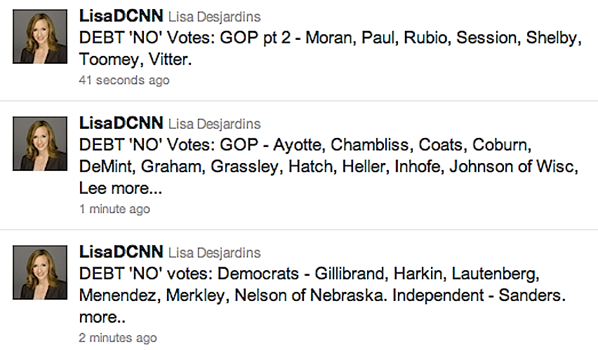 Here are the 26 Senate no votes on the Debt Deal (74-26)
